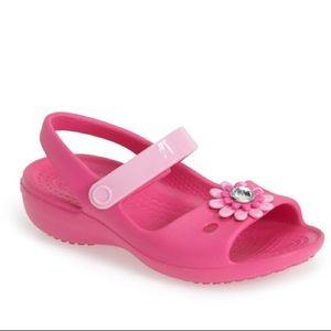 Crocs Keeley Pink Toddler Dress Sandals Pink Daisy